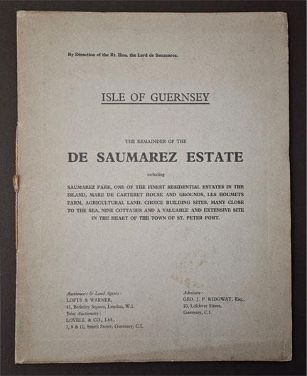 Auction Of De Saumarez Estate 1938